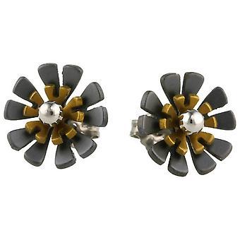 Ti2 Titan svart tillbaka tio kronblad blomma örhängen - Tan Beige