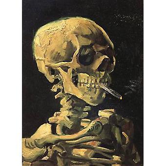 Crâne avec cigarette brûlante, Vincent Van Gogh, 32x 24.5 cm