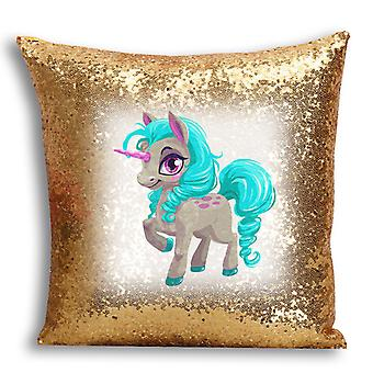 i-Tronixs - Unicorn Printed Design Gold Sequin Cushion / Pillow Cover for Home Decor - 17