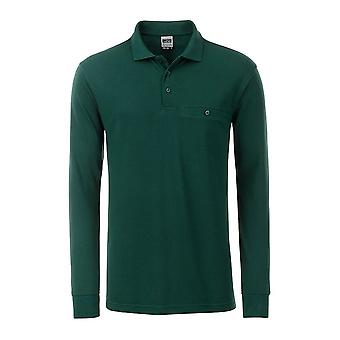 James and Nicholson Mens Workwear Long Sleeve Pocket Polo