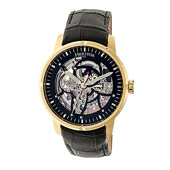Heritor Automatic Ryder Skeleton Leather-Band Watch - Black/Gold