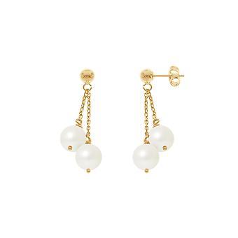 Örhängen av apos; dinglande kvinnors öron dubbla pärlor av kultur vitt och gult guld 750/1000 8009