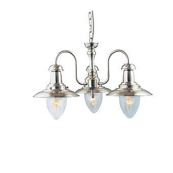 Pêcheur trois argent Satin lumière plafonnier avec verre ensemencée - projecteur 5333-3SS