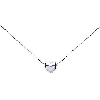 Bella Inline Heart Plug Chain Necklace - Silver