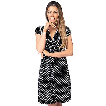 KRISP Womens Polka Dot Print Twist Knot Front V Hals Mini Swing Kleid Party Sommer