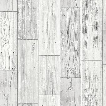 Wood Effect Wallpaper Wooden Plank Panel Rustic Faux Realistic Grey Off White