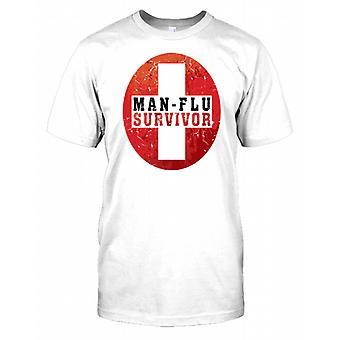 Mann Grippe Survivor - lustige Kerl-Herren-T-Shirt