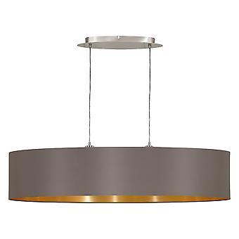 Eglo - Maserlo 2 luz pingente Oval níquel acetinado luz Cappuccino EG31619 de teto