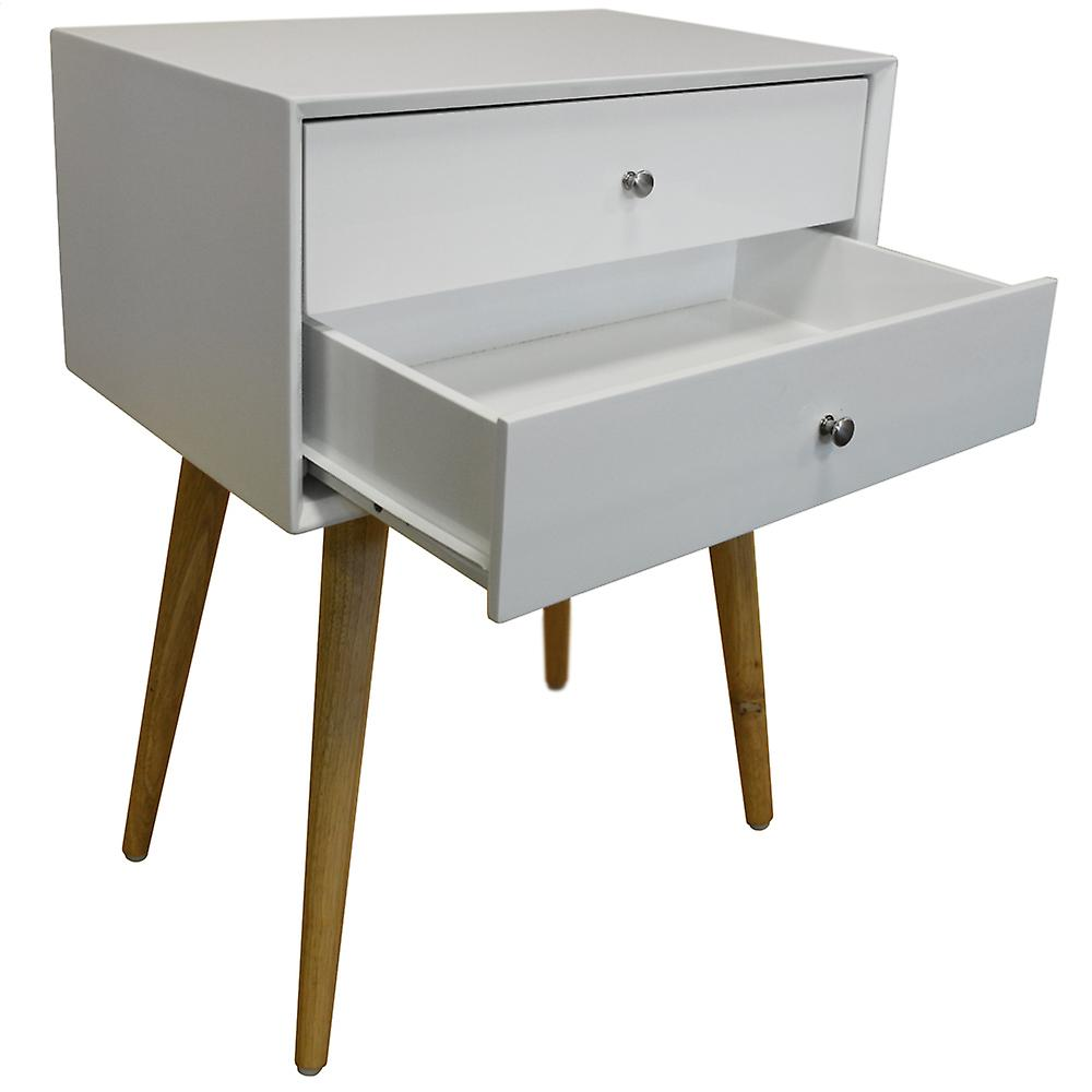 Union - 2 Pack - High Gloss And Solid Wood Side Table / Bedside Table With 2 Drawers - White / Pine
