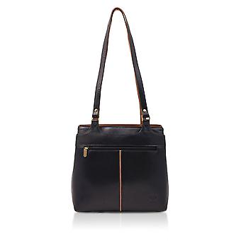 Colourblock Zipped Leather Shoulder Bag in Navy