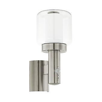 Lámpara de pared al aire libre de PIR Eglo Poliento IP44 en acero inoxidable