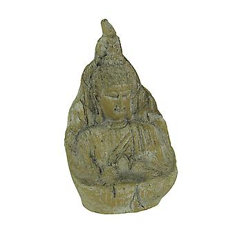 Ancient Stone Finish Buddha Indoor/Outdoor Tealight Candle Holder Statue