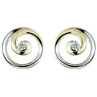 Mark Milton Diamond Circle Earrings - Yellow Gold/Silver