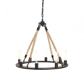 Premier Home Hampstead 8 Bulb Chandelier, Iron, Linen Rope, Black