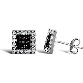 Jewelco London Ladies 9ct White Gold Black and White Round Brilliant Cubic Zirconia Square Stud Earrings