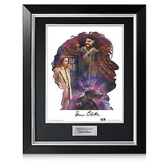 Tom Baker signiert Dr. Who Silhouette Poster In Deluxe Rahmen