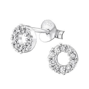Раунд - 925 стерлингового серебра кубического циркония уха шпильки - W29097x