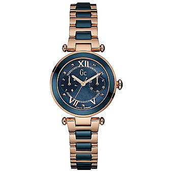 R.gc.ladychic blue ac.box rose gold watch for Swiss Quartz Analog Woman with stainless steel bracelet Y06009L7