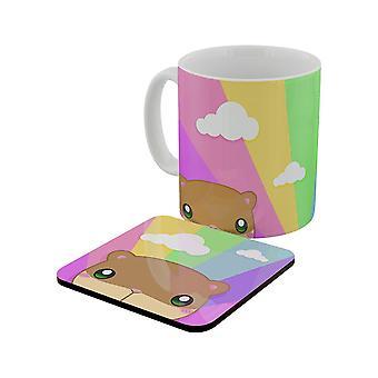 Inquisitive Creatures Kawaii Hamster Rainbow Mug & Coaster Set