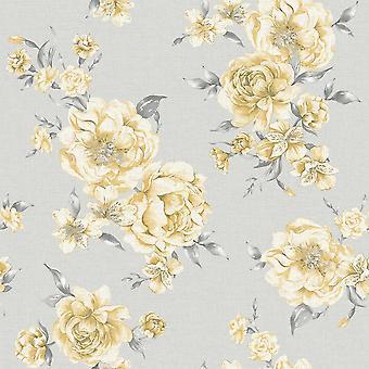 Peonía amarillo rosa gris floral fondo de pantalla rosas flores Painterly Holden Decor