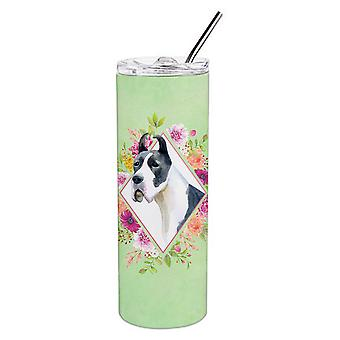 Great Dane Green Flowers Double Walled Stainless Steel 20 oz Skinny Tumbler