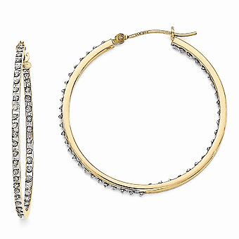 14k Yellow Gold Polished Diamond Fascination Round Hinged Hoop Earrings Measures 35x2mm Jewelry Gifts for Women