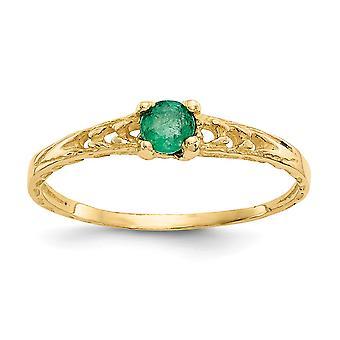 14k keltainen kulta kiillotettu 3mm Emerald pojille tai tytöille Rengas Koko 3