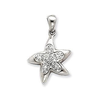 925 sterling zilver Solid gepolijst kristallen ster hanger