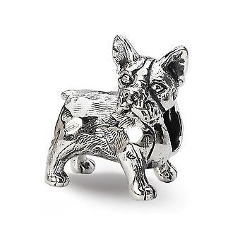 925 Sterling Silber poliert Finish Reflexionen Boston Terrier Perle Anhänger Anhänger Halskette Schmuck Geschenke für Frauen