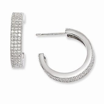 925 Sterling Argento Rhodium-plated e Cubic zerconia brillante braci post orecchini