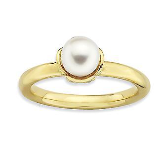 2,5 mm 925 sterling sølv polert hvit ferskvann kultivert perle 14k gullbelagt ring smykker gaver til kvinner - Ring S