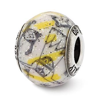 925 plata esterlina pulido reflejos italiano decorativo amarillo y vidrio blanco abalorios encanto colgante collar joyería G