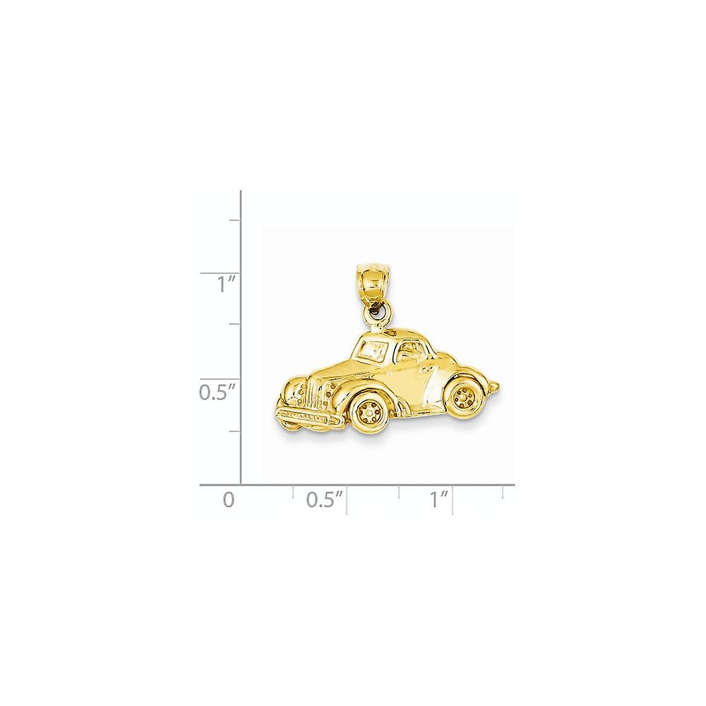 14k Yellow Gold Solid Polished Textured back Classic Car Pendant Necklace Measures 18x27mm Jewelry Gifts for Women