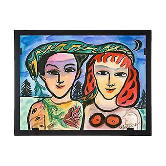 Glass vision-painting-art glass-Vi two Ulrica Hydman Vallien