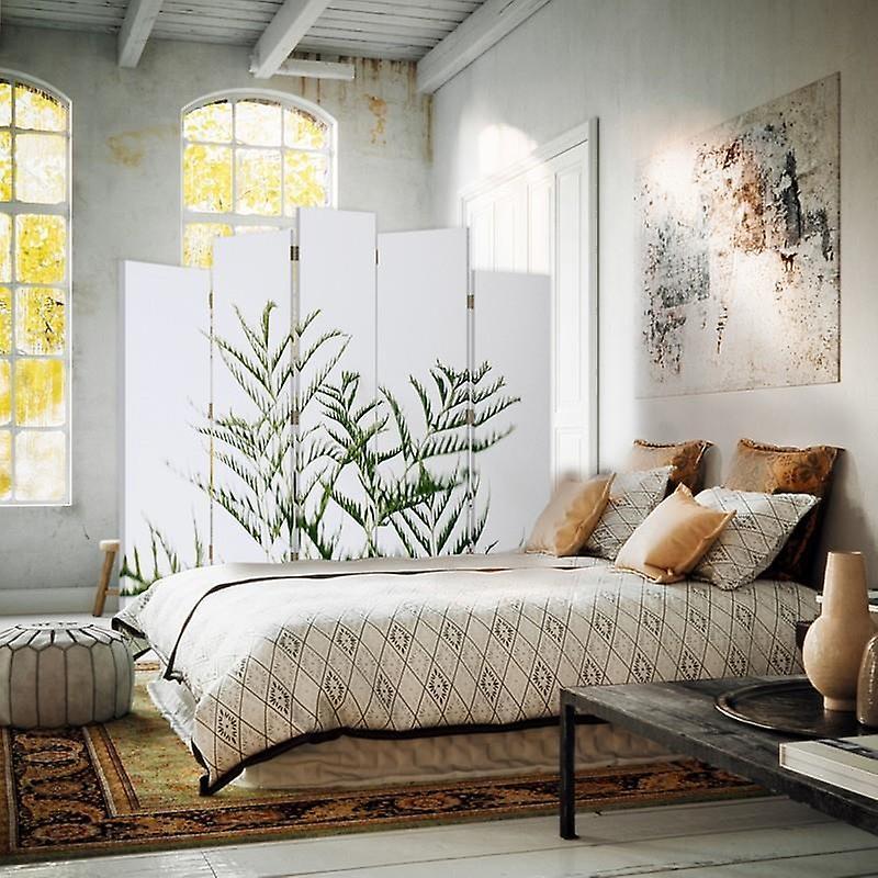 Diviseur de pièce décoratif, 5 panneaux, double-sided, toile rotative de 360 , plante verte