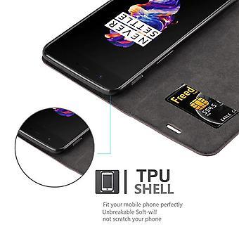 Cas Cadorabo pour la couverture de cas OnePlus 5 - étui de téléphone mobile avec fermoir magnétique, fonction de stand et compartiment de carte - Cas Cover De cas Cas De pliage de cas