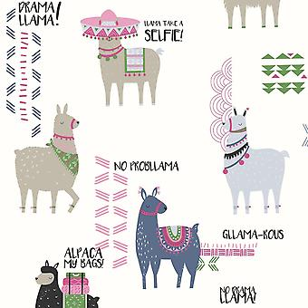 Crown Drama Llamas Wallpaper Multi M1378