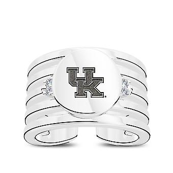 University Of Kentucky Engraved Sterling Silver Diamond Multiband Cuff Ring