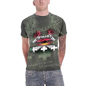 Metallica T Shirt Master Of Puppets all over new Official Mens Charcoal