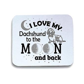 Tappetino mouse pad bianco gen0892 i love my dachshund black