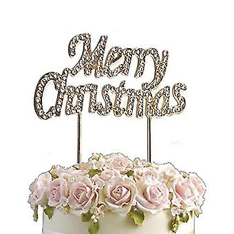 Rhinestone crystal birthday cake topper merry christmas diamante gems decoration
