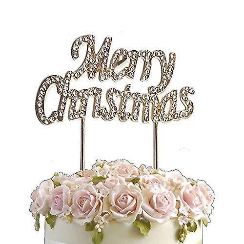Rhinestone crystal birthday cake topper merry christmas diamante gems decoration