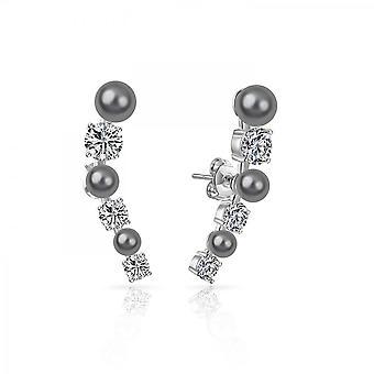 Gris boucles d'oreilles perle grimpeur, créés avec swarovski® cristaux