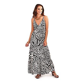 Pistachio Women's Zebra Print Tiered Maxi Dress