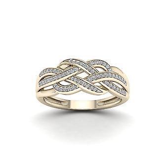 Igi certifierad 10k gult guld 0,18 ct diamant förregling band modering