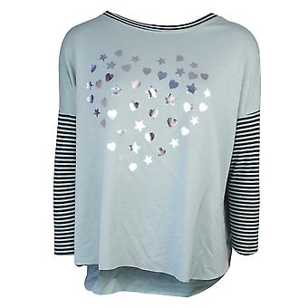 Sundae Tee Holly Aqua Foil Star Heart Print Sweater