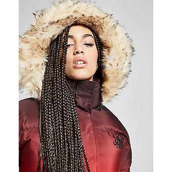 New SikSilk Women's Fur Padded Jacket Red