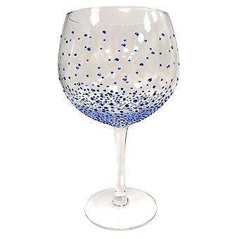 Sunny door Sue Hand Painted Gin & Tonic Copa Glass - Dotty Blue