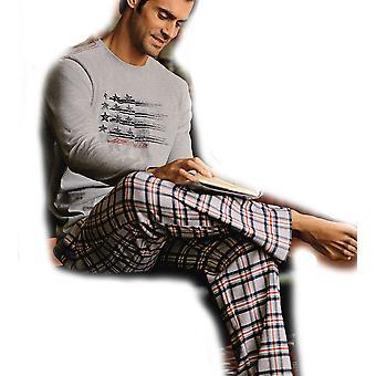 Pyjama Pyjama Long JOCKEY de mens 52204-marine Top Check Bottoms-2 X-Large 50-52
