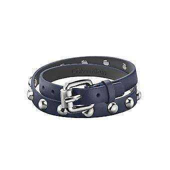 Calvin Klein blauw leder RVS Stud avontuurlijke mannen armband KJ5NLB79040M
